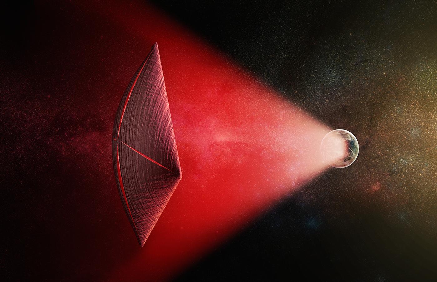 Conceito artístico de uma vela de onda de rádio (a vermelho) com origem na superfície de um planeta