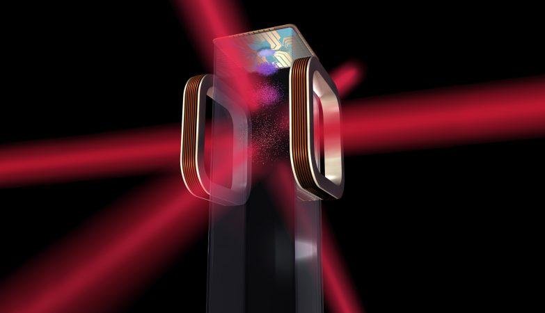 Conceito artístico do chip atómico que o Laboratório de Átomos Frios da NASA vai usar na Estação Espacial Internacional
