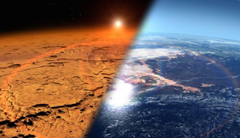 Conceito artístico do escudo magnético gigante na atmosfera de Marte (à direita)