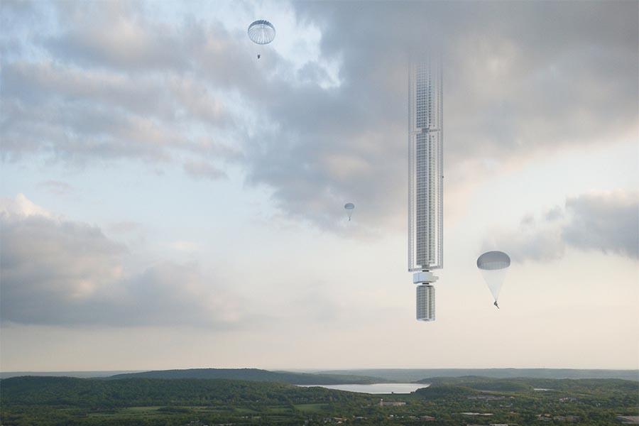 A Torre Analemma, um arranha-céus virado do avesso e suspenso de um asteróide, é um projecto da Clouds Architecture Office.