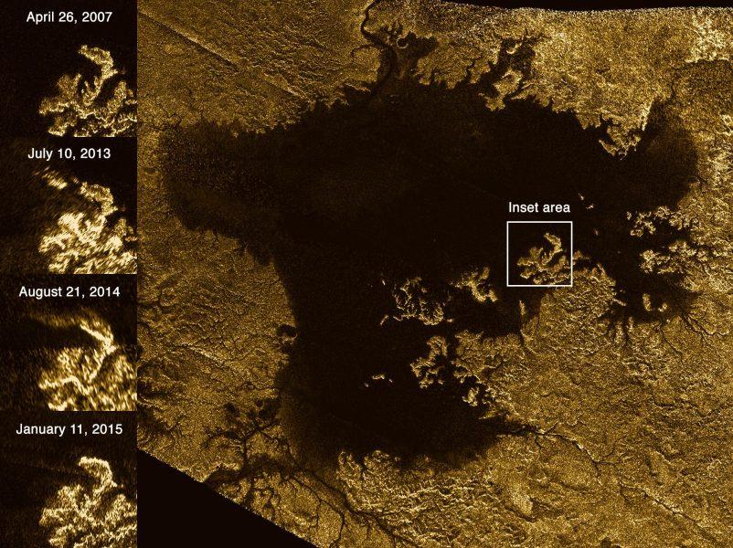 """À esquerda, as imagens mostram as imagens das """"ilhas mágicas"""" de Titã que desaparecem e emergem ao longo do tempo."""