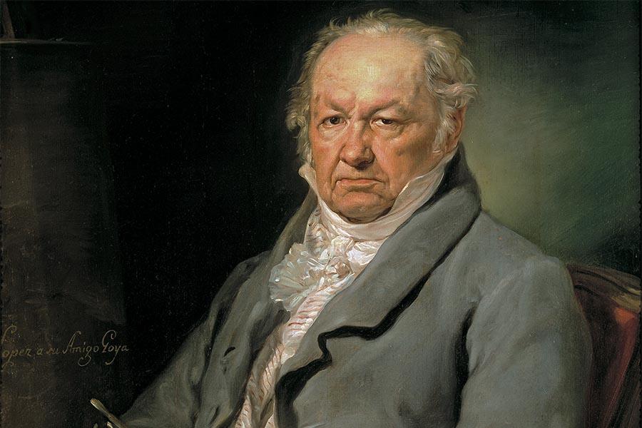 Retrato de Goya pintado por Vicente López y Portaña (1772–1850) exposto no Museu Nacional do Prado, Espanha.