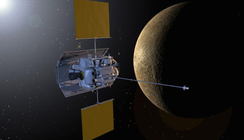 A sonda Messenger em órbita de Mercúrio
