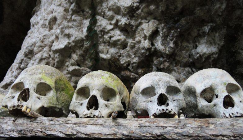 Crânios num túmulo em Tana Toraja, na ilha de Sulawesi, na Indonésia