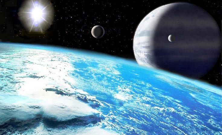 Conceito artístico do exoplaneta Upsilon Andromedae, com as suas enormes luas