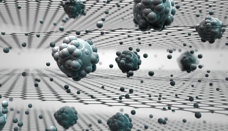 Ilustração que mostra como a membrana de óxido de grafeno pode separar o sal da água
