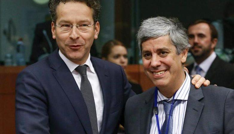 O ministro das Finanças, Mário Centeno, com Jeroen Dijsselbloem, presidente do Eurogrupo