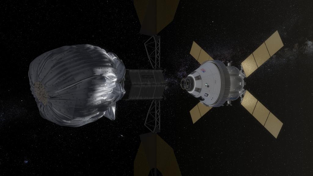 Conceito artístico da abordagem da nave Orion a um asteróide na sua missão ARM