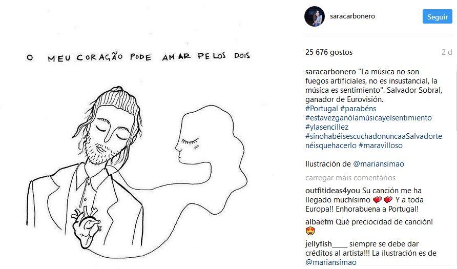 Sara Carbonero elogia Salvador Sobral