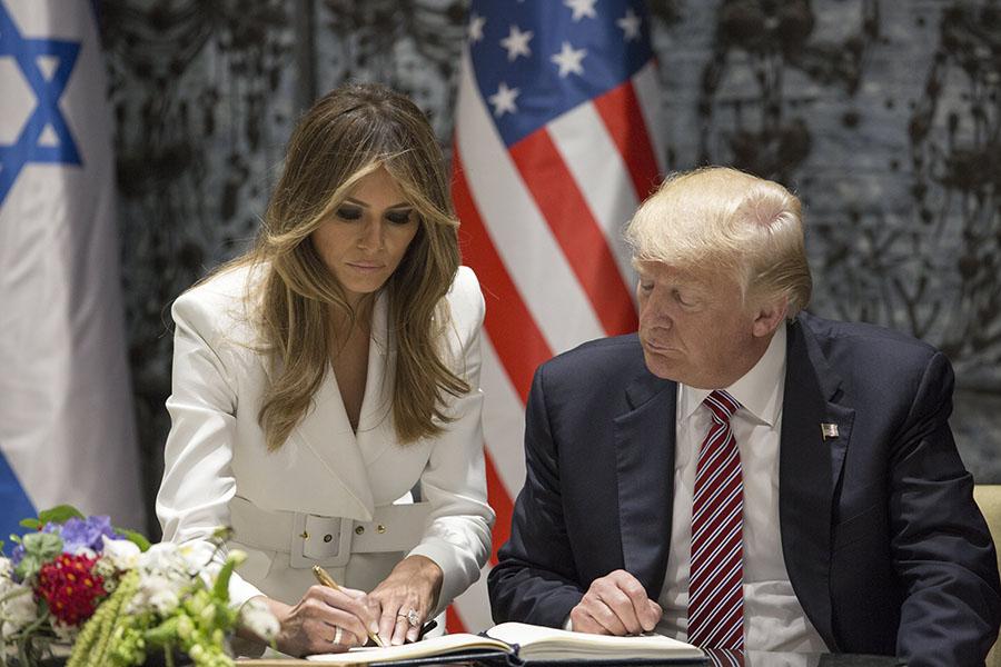 Donald Trump e Melania Trump em visita oficial a Israel.