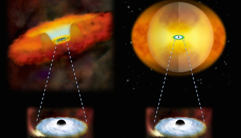Crescimento de buracos negros supermassivos em dois tipos diferentes de galáxias. Um buraco negro supermassivo em crescimento, numa galáxia normal, teria gás e poeira numa estrutura em forma de donut em seu redor (esquerda). Numa galáxia em fusão, uma esfera de material obscurece o buraco negro (direita).