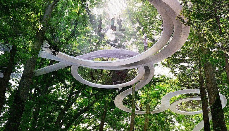 Parque florestal Parkorman, em Istambul, onde os visitantes podem caminhar na copa das árvores