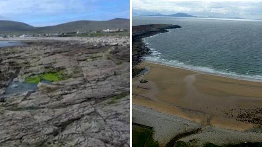 O antes e depois da praia de Dooagh à esquerda como ela ficou após as tempestades de 1984 à direita a nova praia que surgiu no local