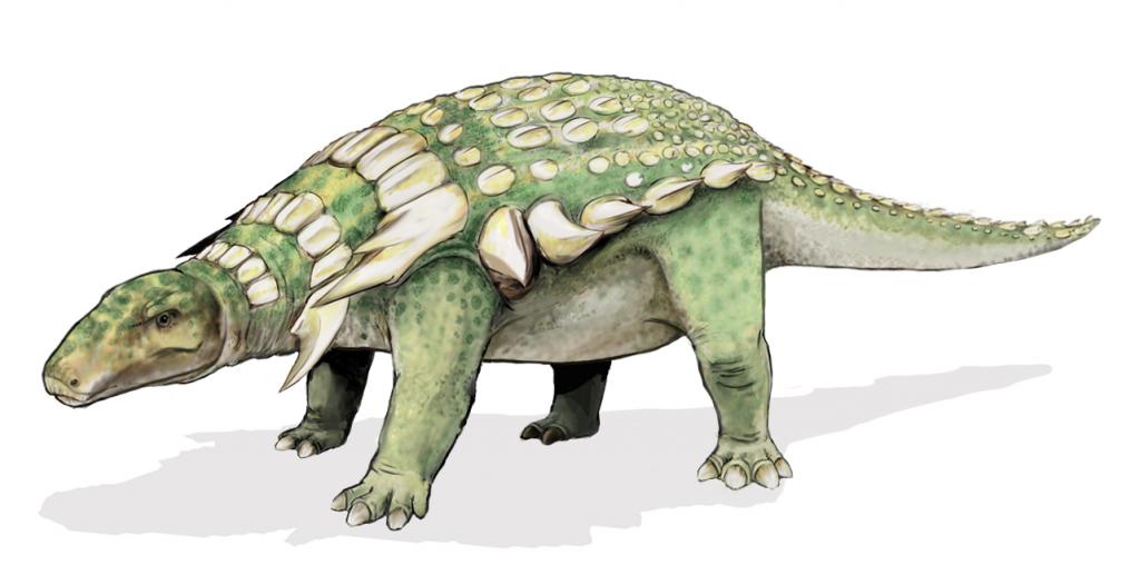 "O nodossauro (Nodosaurus textilis, do latim ""lagarto nódulo"")"