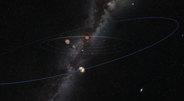 O objeto misterioso do tamanho de Marte está ilustrado como tendo uma órbita larga, bem para lá de Plutão, nesta impressão de artista.