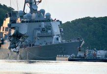 Contratorpedeiro norte-americano USS Fitzgerald, classe Arleigh Burke, em operações a sudoeste de Yokosuka, no Japão, após colisão com um navio mercante