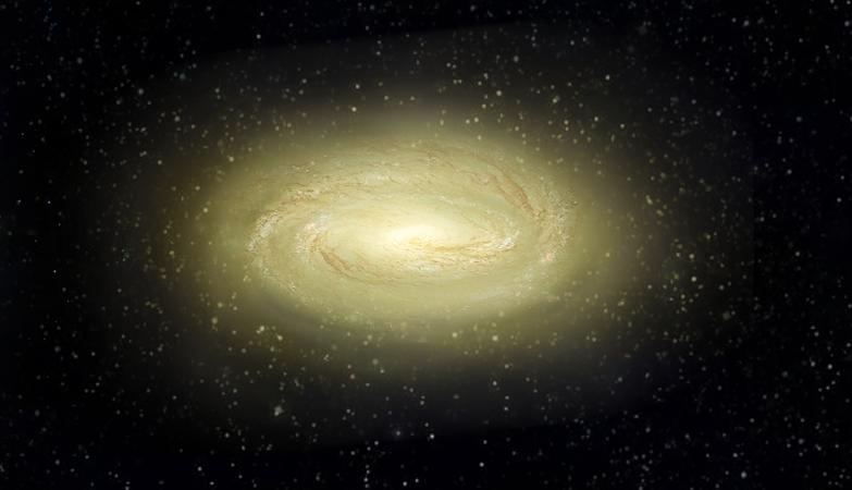 Impressão de artista que mostra o possível aspeto da jovem e morta galáxia de disco MACS2129-1