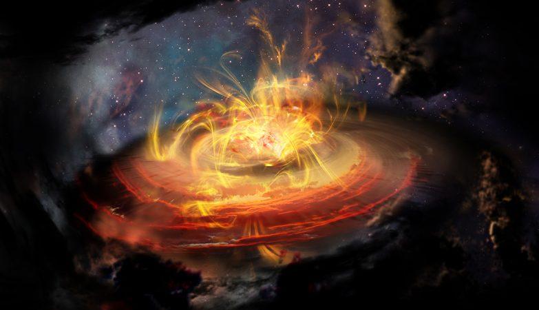 Impressão de artista das linhas do campo magnético muito perto de uma jovem protoestrela emergente