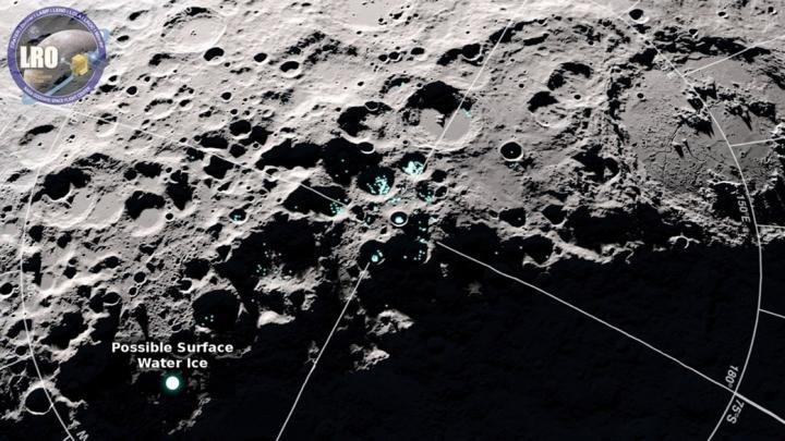 A sonda LRO encontrou crateras brilhantes na zona do pólo sul da Lua - que correspondem a jazidas de gelo