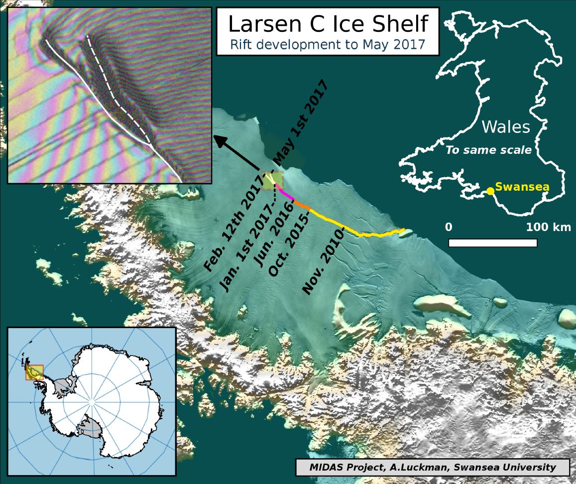 Imagem de satélite mostra a região da plataforma Larsen C que ameaça separar-se da Antártida, vista a 1 de Maio
