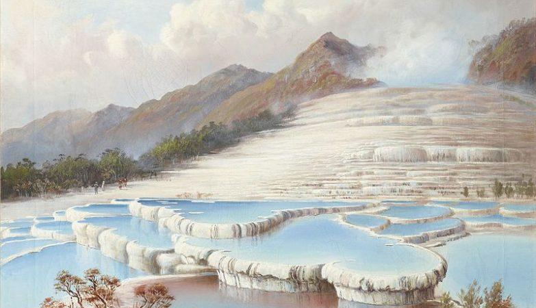Terraços Brancos da Nova Zelândia, por Charles Blomfield (1848–1926)