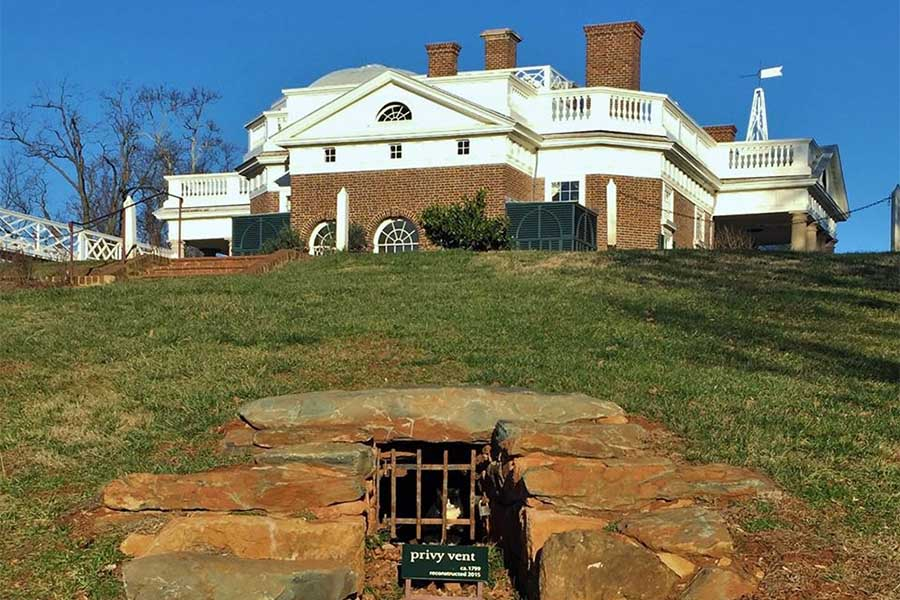 Plantação de escravos de Monticello, na Virgínia, que pertenceu a Thomas Jefferson, terceiro presidente dos EUA.