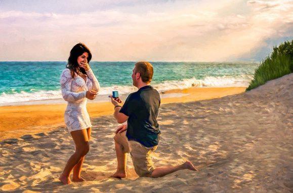 Chad Koczera pediu sua namorada em casamento em Shelly Island