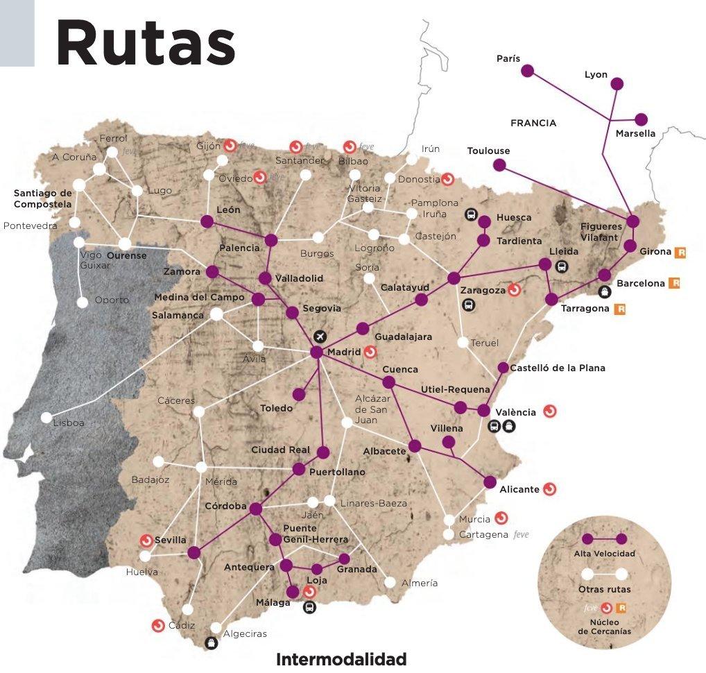 Mapa Da Companhia Ferroviaria Espanhola Renfe Coloca Vigo Em