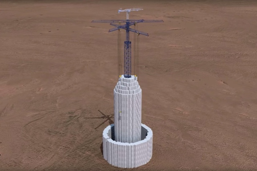 LEGO-style. Tower of cement blocks stores renewable energy