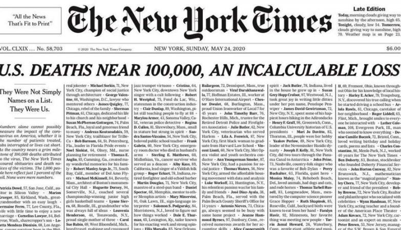 """""""Nenhuma era apenas um número"""". NYT dedica toda a primeira página às 100.000 vítimas da pandemia"""