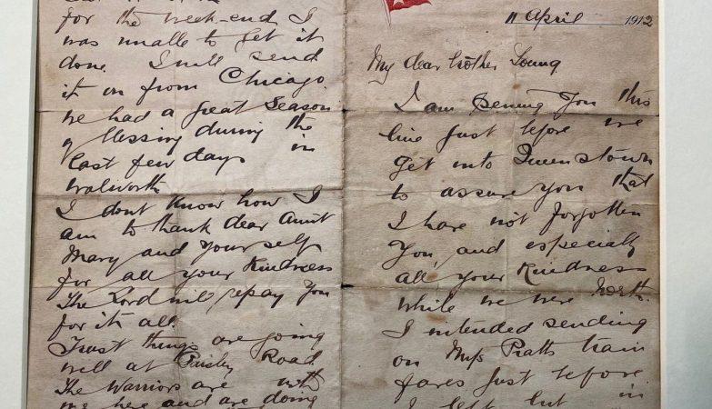 Carta escrita pelo pastor John Harper, morto no Titanic.