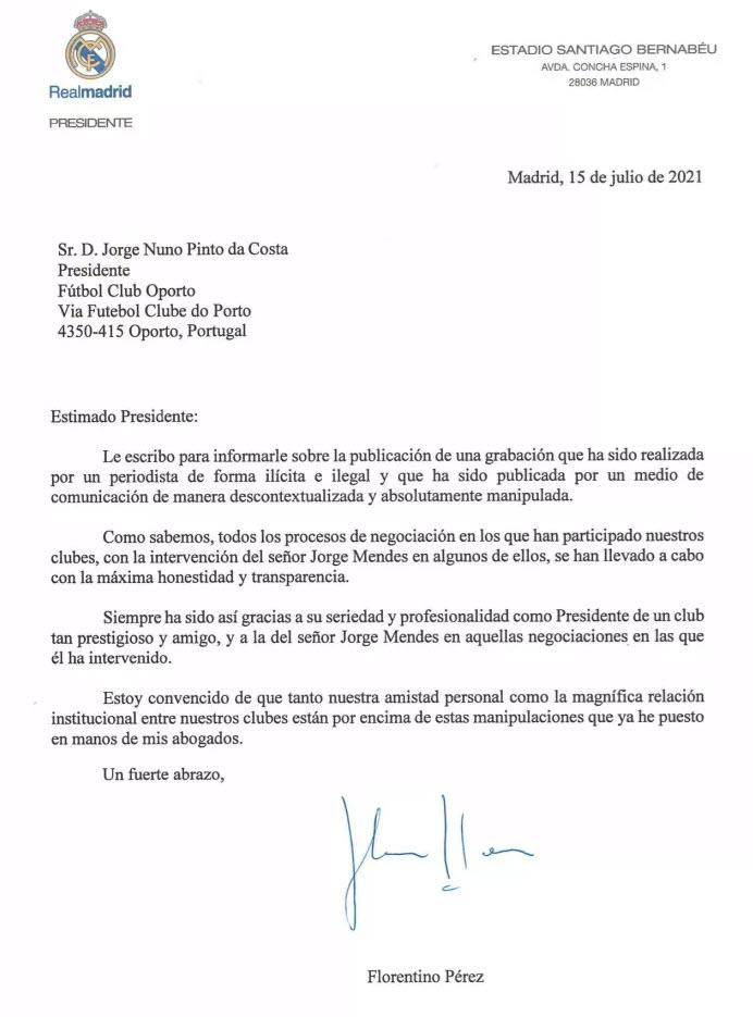 Carta de Florentino a Pinto da Costa