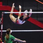 Filipa Martins, ginasta do Acro Clube da Maia na modalidade de barras fixas.