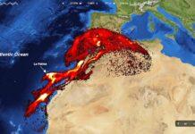 Nuvem de dióxido de enxofre do vulcão de La Palma chega à Península Ibérica