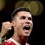 O internacional português Cristiano Ronaldo a festejar um golo.
