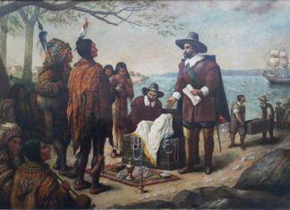 """O quadro """"Native American Treaty"""", de Roman Fekonja, mostra um tratado entre índios e colonizadores."""
