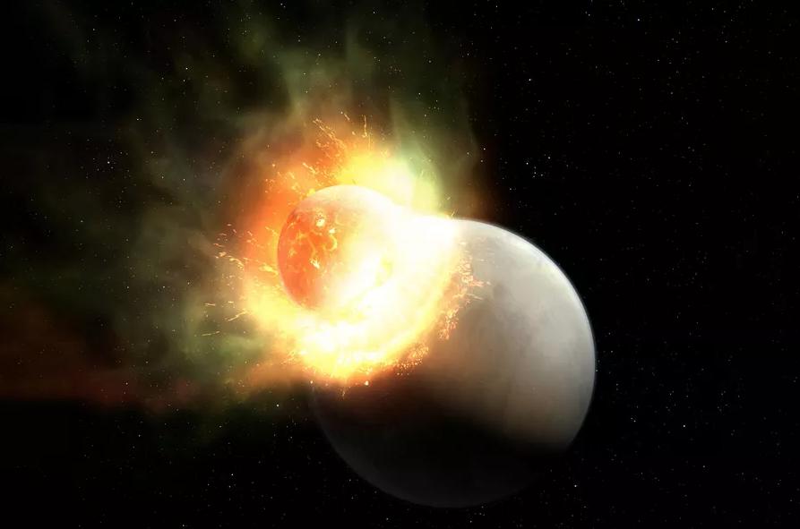 Uma impressão artística de um impacto gigantesco no sistema estelar HD 17255